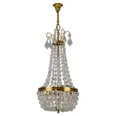 Empire Style Brass and Crystal Glass Three-Light Basket Chandelier