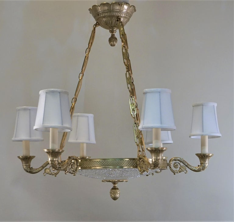 Empire Style Bronze and Cut Crystal Chandelier For Sale 5