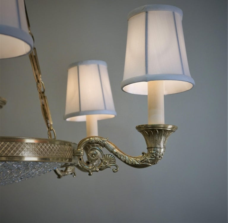 Italian Empire Style Bronze and Cut Crystal Chandelier For Sale