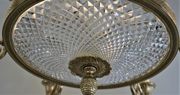 Empire Style Bronze and Cut Crystal Chandelier In Good Condition For Sale In Fairfax, VA