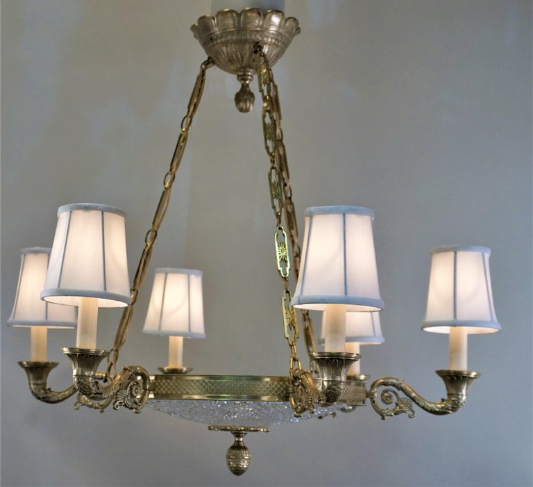 Empire Style Bronze and Cut Crystal Chandelier For Sale 1