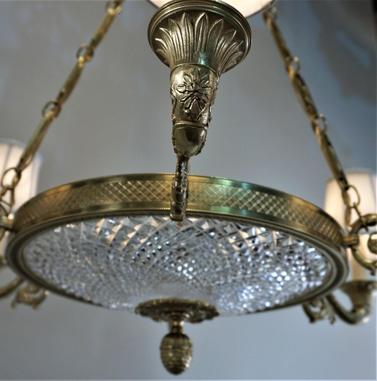 Empire Style Bronze and Cut Crystal Chandelier For Sale 3