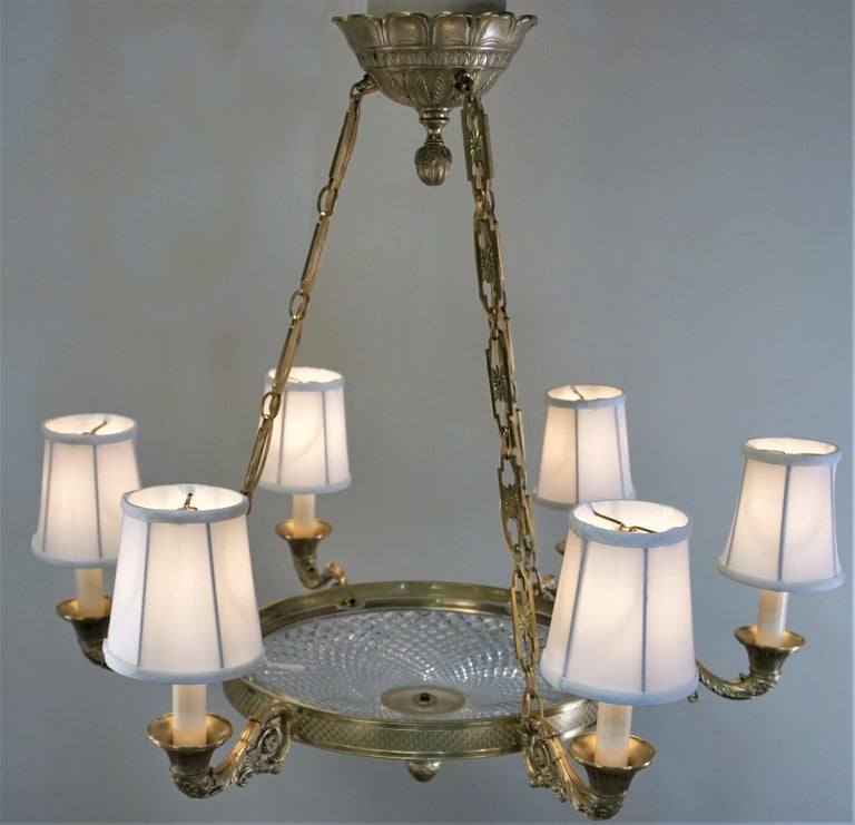 Empire Style Bronze and Cut Crystal Chandelier For Sale 4