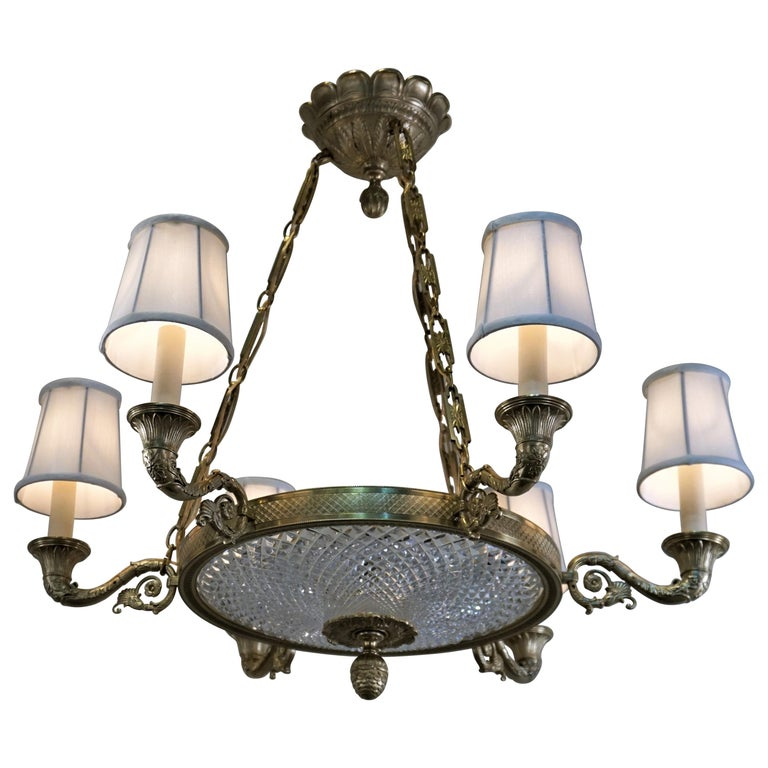 Empire Style Bronze and Cut Crystal Chandelier For Sale