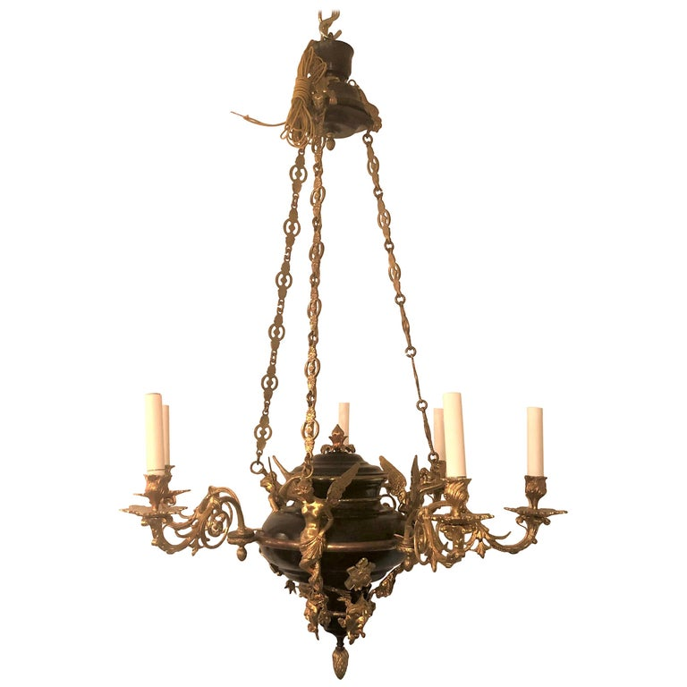 Empire Style Bronze Chandelier For Sale