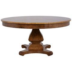 Empire Style Burl Wood Veneers Round Center Table