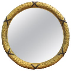 Empire Style Carved GIltwood Round Wall Mirror