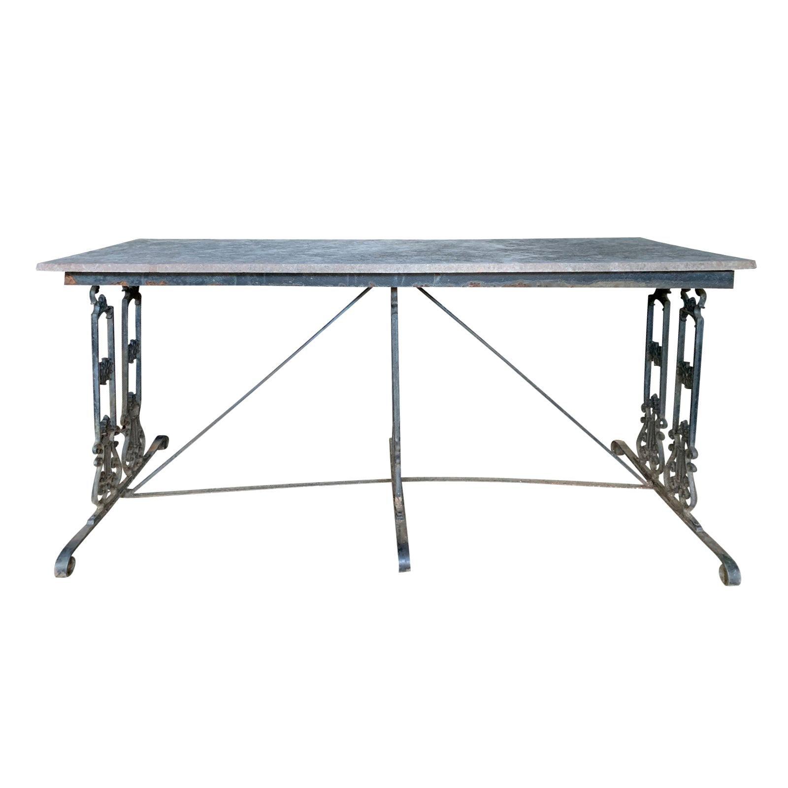Empire Style Cast Iron Garden Table with Stone Top, circa 1900