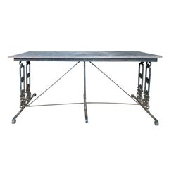 Empire Style Cast Iron Garden Table with Stone Top, circa 1900