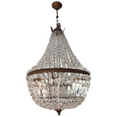Empire Style Crystal Chandelier One Tier Four Candles, 20th Century