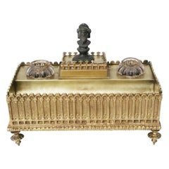 Empire Style Desk Inkwell in Gilt Bronze, France, 19th Century