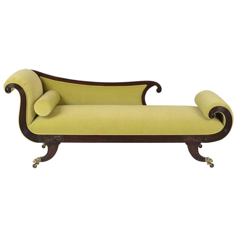 Empire Style Flemish Mahogany Chaise Lounge, circa 1800s For Sale