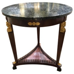 Empire Style French Gueridon Round Table with Green Marble Top 19th Century