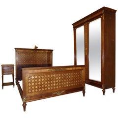 Empire Style Gilt Bronze Mounted Parquetry Bed Set, circa 1900