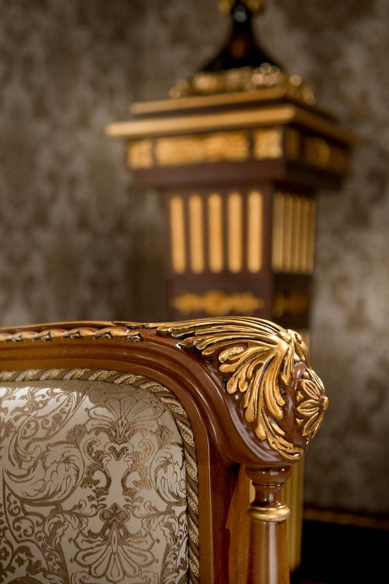 Contemporary Empire-Style Italian Armchair with Cushion in Walnut and Gold Leaf Finish For Sale