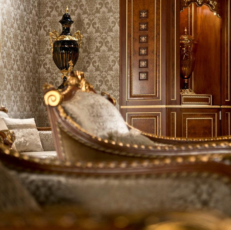 Fabric Empire-Style Italian Armchair with Cushion in Walnut and Gold Leaf Finish For Sale