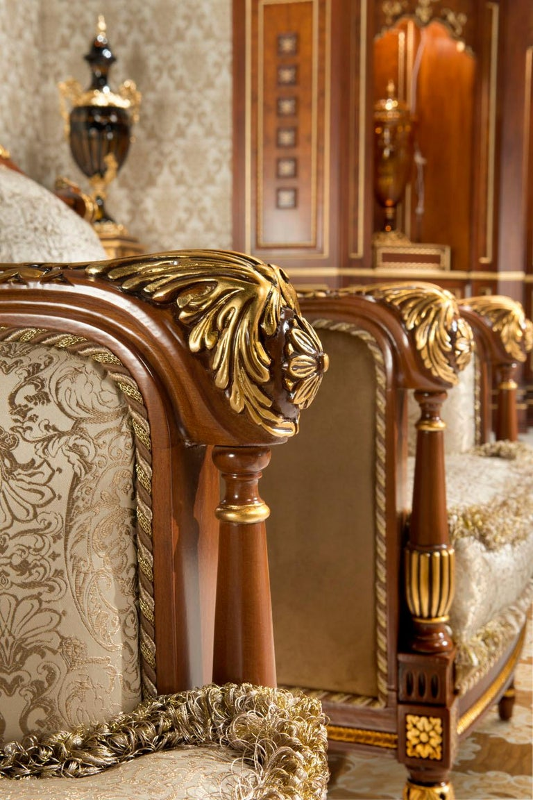 Empire-Style Italian Armchair with Cushion in Walnut and Gold Leaf Finish For Sale 1