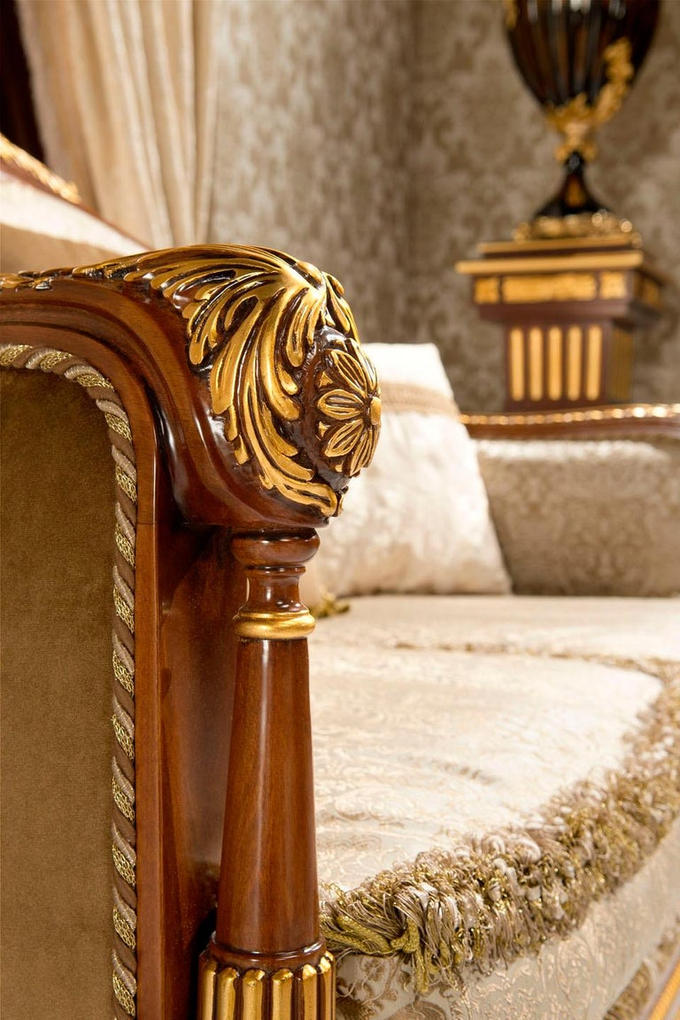 Empire-Style Italian Armchair with Cushion in Walnut and Gold Leaf Finish For Sale 2