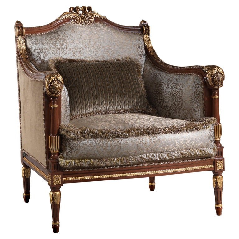 Empire-Style Italian Armchair with Cushion in Walnut and Gold Leaf Finish For Sale