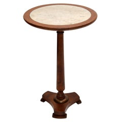 Empire Style Made In France Side Table Turned Oak Wood & Marble Top, 1950