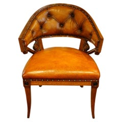 Empire Style Mahogany and Leather Tub Shaped Desk Library Chair, circa 1920