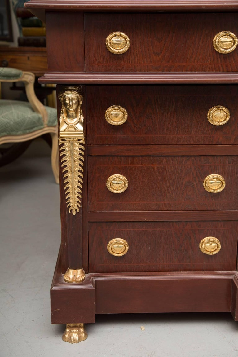 Empire Style Mahogany Desk with Gilt Metal Ornamentation For Sale 2