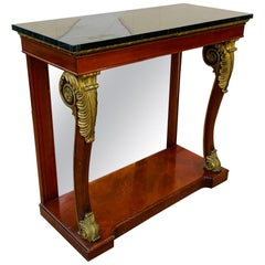Empire-Style Mahogany and Gold Gilt Console by Kindel