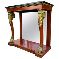 Empire Style Mahogany and Gold Gilt Console by Kindel