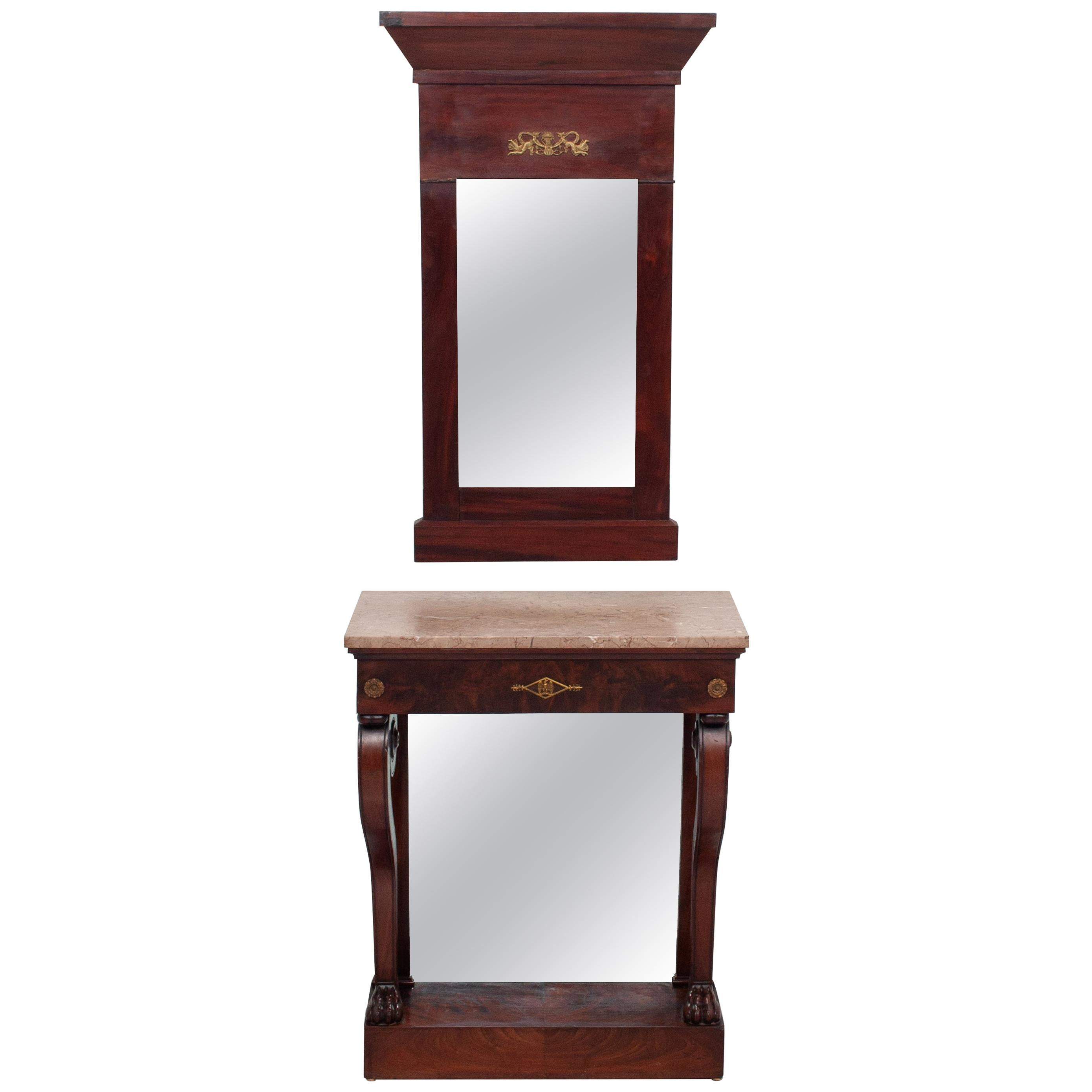 Empire Style Mahogany Trumeau Mirror with Matching Console Table