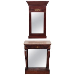 Empire Style Trumeau Mirror with Matching Console Table