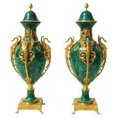 Empire Style Malchite and Ormolu Pair Vases