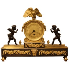 Empire Style Mantle Clock with Gilt Bronze and Bronze Adornments