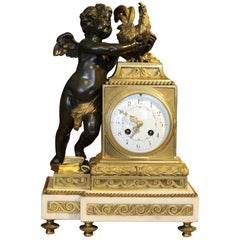 Empire Style Mantel Clock with White Marble Base