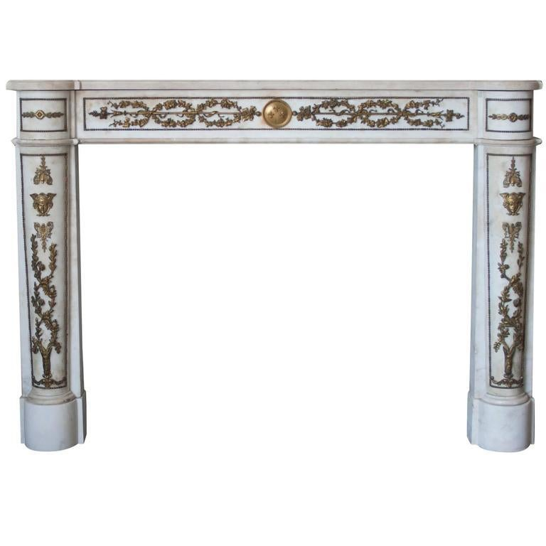 Carved Empire Style Marble Mantlepiece with Fine Ormolu Detailing For Sale