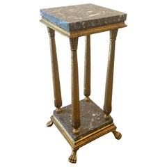 Empire Style Marble-Top Giltwood Pedestal