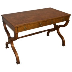 Empire Style Olive Wood Writing Desk by Baker Furniture Banded Inlay Top