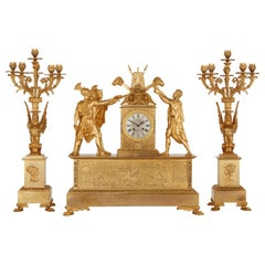 Empire Style Ormolu Clock Set Depicting the Oath of the Horatii
