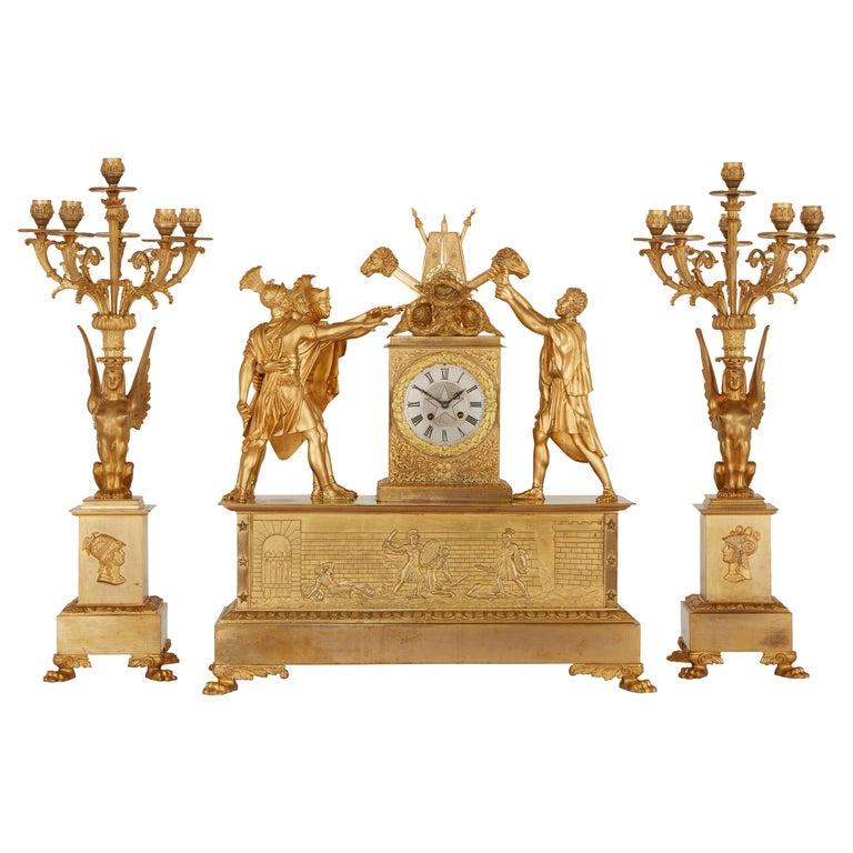 Empire Style Ormolu Clock Set Depicting the Oath of the Horatii For Sale