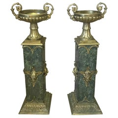 Empire Style Pair of Italian Green Marble and Gilted Bronze Columns