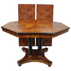 Empire Style Pedestal Black Column Base Burl Wood Octagonal Dining Table