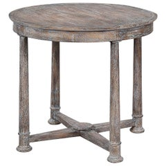 Empire Style Round Side Table, Cerused Finish