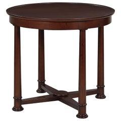 Empire Style Round Side Table, Mahogany Finish