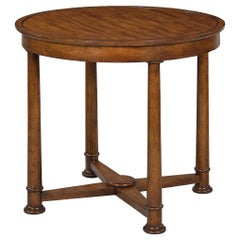 Empire Style Round Side Table, Rustic Walnut