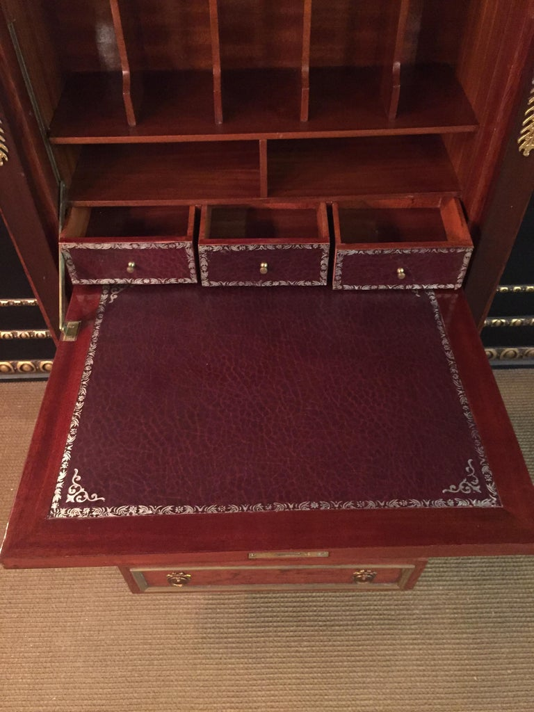 Empire Style Secretary with Brass and Marble Top For Sale 4