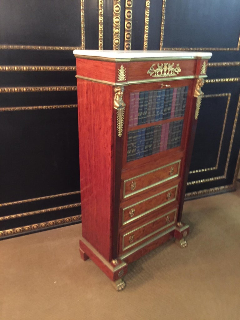 Empire Style Secretary with Brass and Marble Top For Sale 8