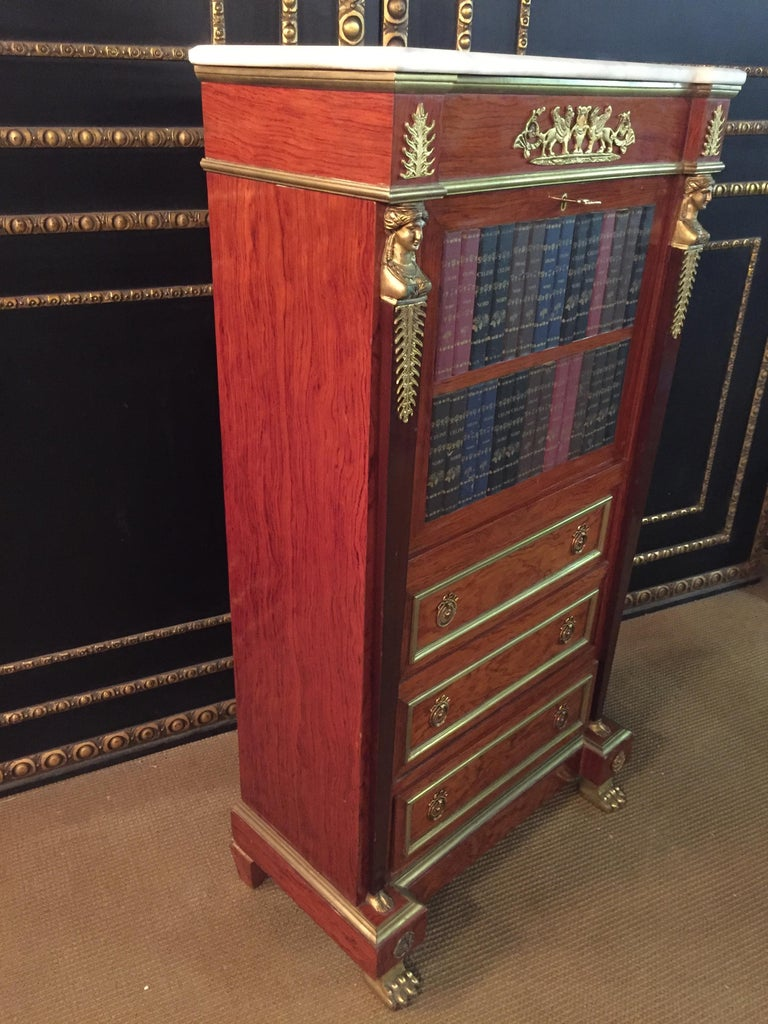 Empire Style Secretary with Brass and Marble Top For Sale 9