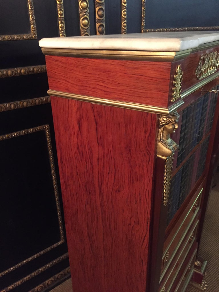Empire Style Secretary with Brass and Marble Top For Sale 10