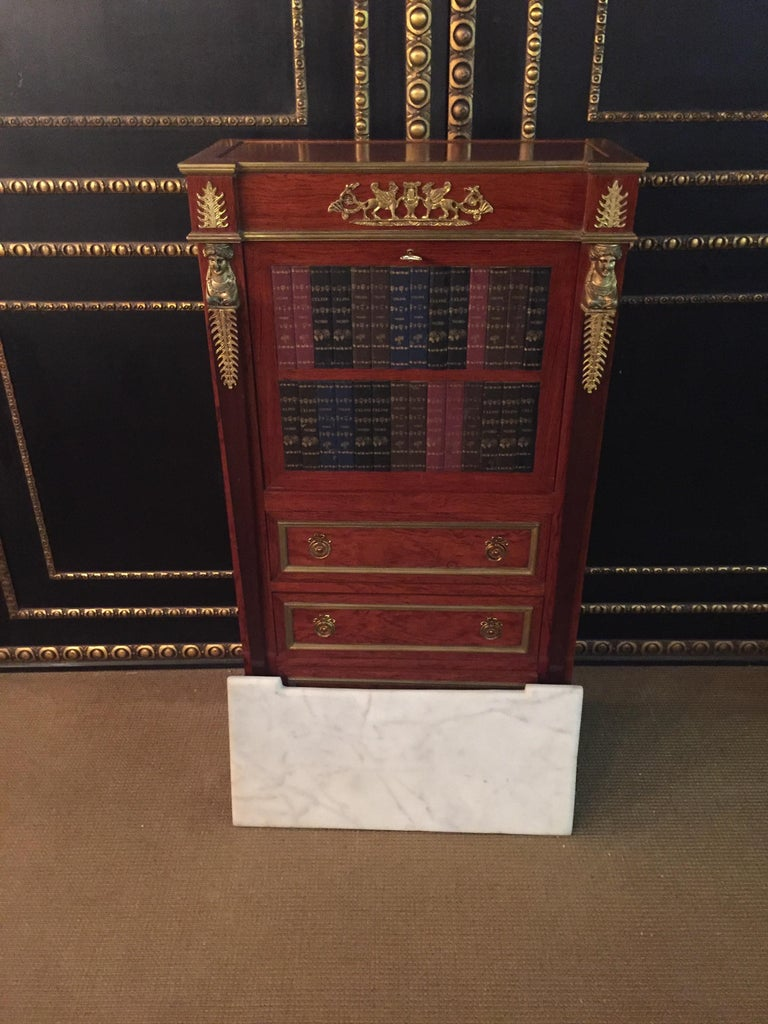 Empire Style Secretary with Brass and Marble Top For Sale 13