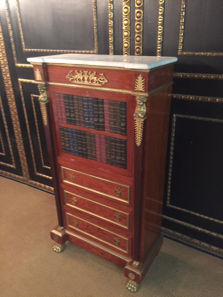 French Empire Style Secretary with Brass and Marble Top For Sale