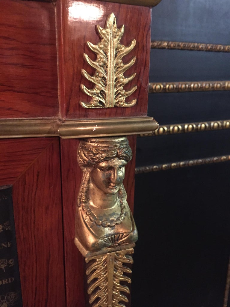 Empire Style Secretary with Brass and Marble Top In Good Condition For Sale In Berlin, DE